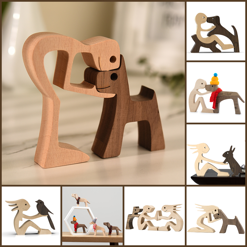 Puppy Family Wood Dog Carving