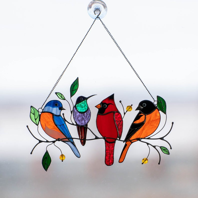 Mini Stained Bird Window Hangings